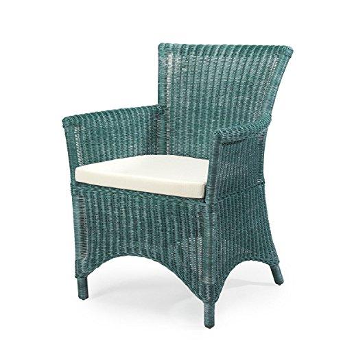 Rattan-Sessel ROSAS - Rattan - Vintage - inkl. Sitzkissen - Grün