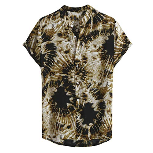 DeHolifer Herren Hemd, Mode Männer Drucken Hemd, Kurzarm Revers Freizeit Herrenhemd Mode Lose Hemd Herbst Top Casual Knopf Hemd Slim Fit Atmungsaktiv Hemd