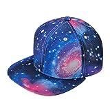 ZLYC New Starry Galaxy Sky Neon Pattern Flatbill Snapback Adjust Baseball Hat (Blue)