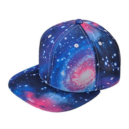 zlyc-nuovo-galaxy-cielo-stellato-neon-pattern-flatbill-snapback-regolabile-cappello-da-baseball