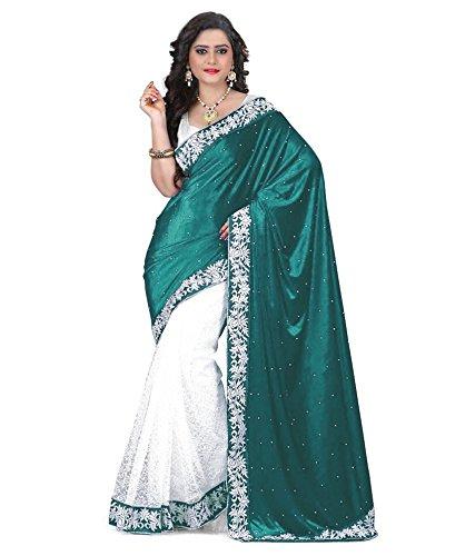 V-Art Velvet & Net Saree (Greenvelvet1_Rama Green)