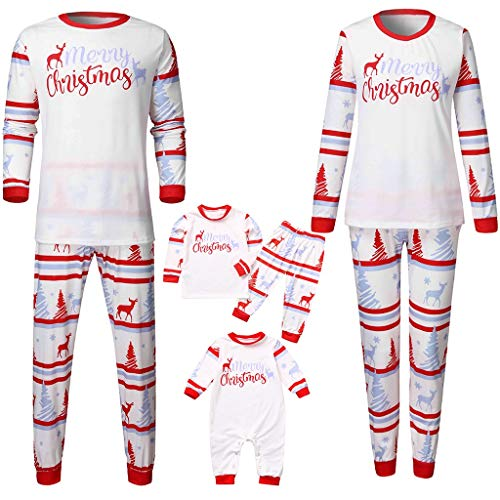 Weihnachten Schlafanzug Familien Pyjama Set Gedruckt Nachtwäsche Homewear Zweiteiliger Langarm Shirt und Pyjamahose Damen Herren Kinder Bekleidung