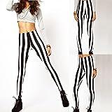GGG Hot Modisch Frauen Zebra Schwarz Weiß Streifen Muster Schlank Dünn Gamaschen Strumpfhose