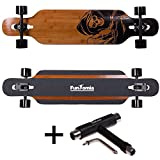 FunTomia Longboard aus Bambus und Fiberglas in 3 Flexstufen - Drop Through Komplettboard mit Mach1 ABEC-11 High Speed Kugellager + T-Tool (Flex-1 von 25 bis 110kg - Farbe Death Skull)