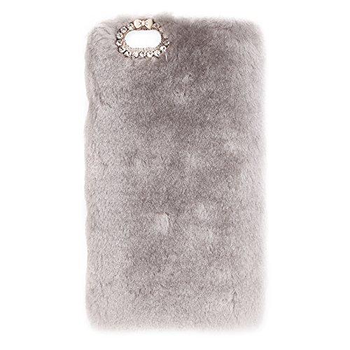 Wkae Case Cover Faux-Pelz-PC-Schutzhülle für iPhone 6 Plus &6s plus ( Color : White ) Grey