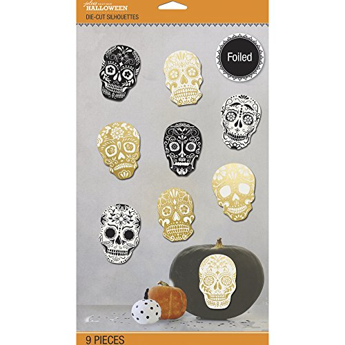 Jolee's Halloween Die-Cut Silhouettes Wall Decor 9/Pkg-Foil Skulls