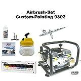 Komplett Airbrush Set Custom-Painting 9302 Evolution Silverline 2in1 + Sparmax AC-500 Kompressor