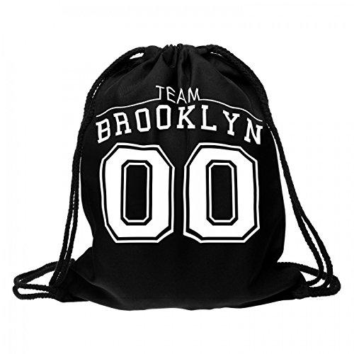 Sacca sportiva a tracolla per l'allenamento, ma non solo. Ultra leggero lifestyle viaggio borsa borsetta palestra zaino a spalla trend sport per uomini donne ragazzi ragazze bambini, Turnbeutel 1 RU-10-50:RU-12 schwarz Team Brooklyn