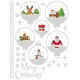 Gosear Autocollants de Noël pour le Verre, Fenêtre Stickers Décorations de Noël Fournitures pour le Magasin BarMaison Party 70 x 120 cm Style de Boule de Verre