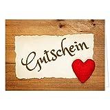 Großer XXL (A4) Gutschein, Motiv: Großes Herz auf Holz rustikal/mit Umschlag/Edle Design Klapp-Karte/Extra groß/Geburtstag/Hochzeit/Taufe/Weihnachten/Valentinstag