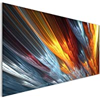 Oro argento piume moderno astratto vetro acrilico moderno Wall Art XL