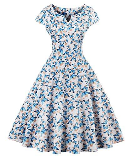 Eudolah Robe vintage patineuse à motif papillon à pois années 50 soirée cérémonie Femme Bleu Clair