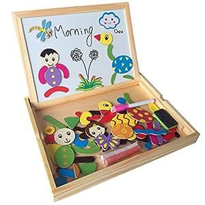 puzzle tableau en bois double face aimant enfant planche a dessin magn tique jouet ducatif. Black Bedroom Furniture Sets. Home Design Ideas