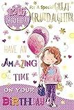 Cards Galore Online Tolles Enkelin Geburtstagskarte & Badge–Little Girl & Lila Luftballons 22,9x 15,2cm