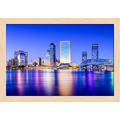 Pitaara Box Downtown City Skyline of Jacksonville, Florida Usa Canvas Painting Natural Brown Frame 17.5 X 12Inch