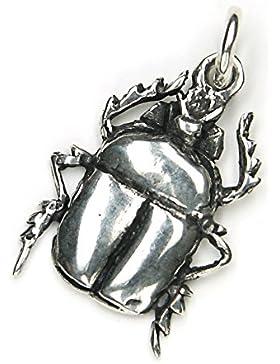 Scarabäus Schmuck Anhänger 925er Silber, Länge Kettenanhänger mit Öse: 3cm, Glückskäfer