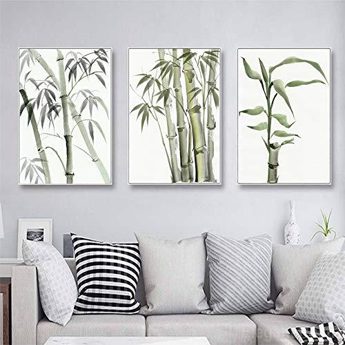 Pintura Continua Lienzo Hoja bambú Cartel Zen Decoración