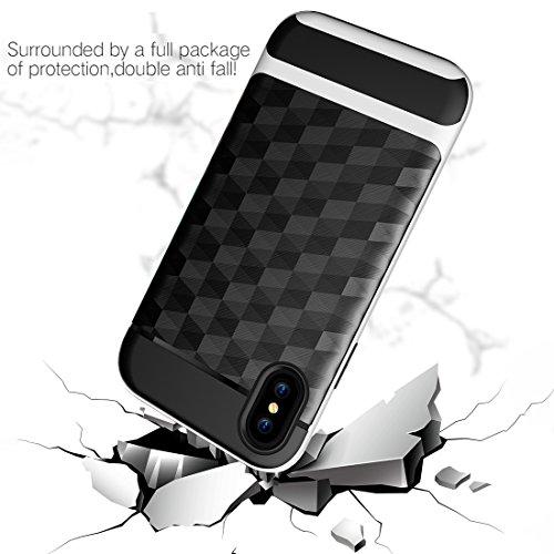 iPhone X Hülle, HICASER Dual Layer Case Shock Proof Prism Textur TPU +PC Bumper Handytasche Schutzhülle für iPhone X Schwarz / Rot Schwarz / Weiß