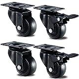 GBL - Lot de 4 Noir Roulettes Pivotantes 50mm Roues Avec Frein Plaques Industrielles Roue pour Meuble/Transport - Heavy Duty Roulette (2 Roulette Avec Frein & 2 Roulette Sans Frein)