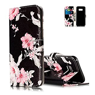 Aeeque Galaxy S8 Holster Case, Beautiful Pink Flowers Pattern and Ultra-thin Leather Bookstyle Flip Wallet Magnetic Closure Cover for Samsung Galaxy S8 2017 5.8