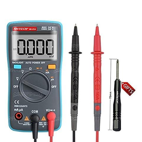 Nktech Nk-51a rétroéclairage Auto Gamme multimètre numérique AC DC Tension courant résistance diode Test de continuité 2000Compte 113g Mini Portable Palm Mètre testeur de kit électronique