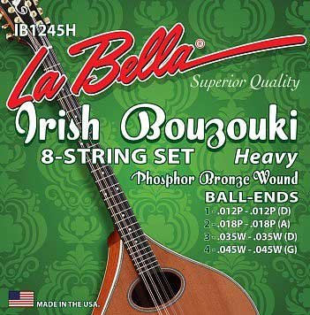 La Bella IB1245H Irish Bouzouki 8-string Phosphor Bronze, Ball End, Heavy