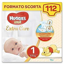 Huggies Bebè Extra Care Pannolini, Taglia 1 (2-5 kg), 4 x 28 unità