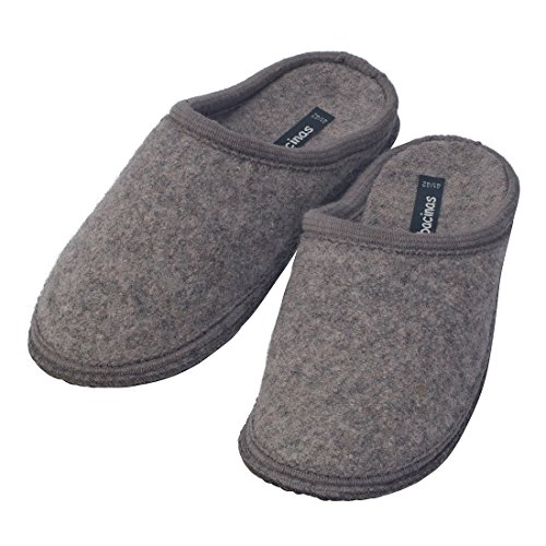 bacinas Hausschuhe Herren | Warme Slippers zum Reinschlüpfen und Wohlfühlen aus Schafwolle. Ideal auch als Gäste-Hausschuh. Wie Filzpantoffeln aus 100% Schurwolle Hellgrau
