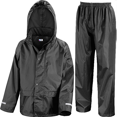 Kids Waterproof Jacket & Trousers Suit In Black, Pink, Red or Royal Blue Childs Childrens Boys Girls (5-6 Years, Black)