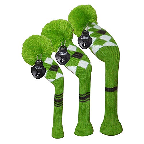 Scott Green Grey White Argyles Grey Stripes Knit Golf Headcover,Set of 3 for Driver Wood(460cc) Fairway Wood and Hybrid/UT -