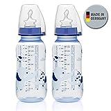 NIP PP Flasche Boy // 2er Set // Standardbabyflasche 250 ml // angenehm weiches PP // kiefergerechter Sauger Silikon mit Anti-Kolik Ventil Größe M ( Milch / ab 0 Monate) // inkl. Verschlußplättchen