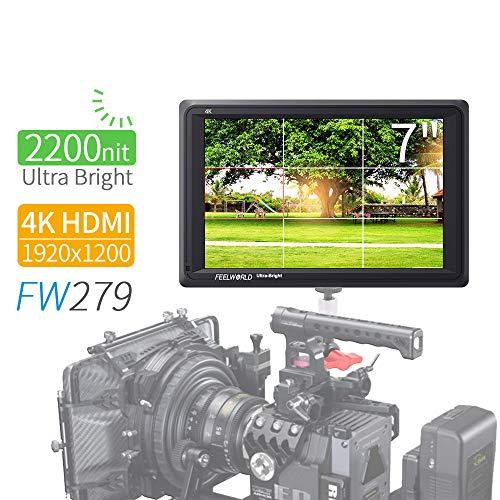 Feelworld FW279 7 Zoll Ultra Bright DSLR Kamera Field Monitor Camera Full HD Focus Video Assist 1920x1200 IPS mit 4K HDMI Input Output 2200nit Hohe Helligkeit