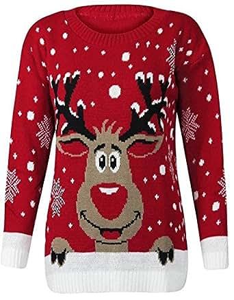 FK Styles Womens Rudolph Reindeer Print Snowflake ...