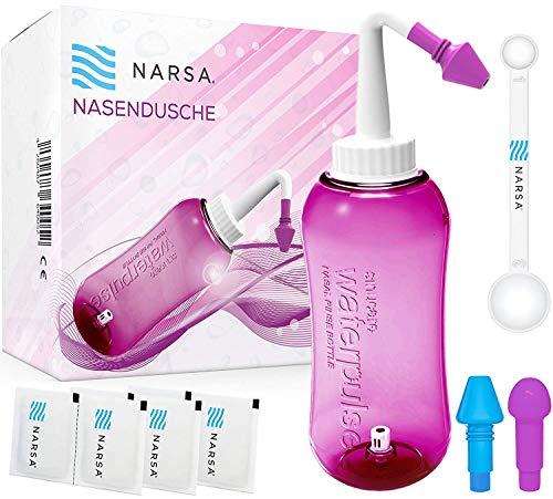 NARSA Nasendusche + Dosierlöffel + 3 Aufsätze/Schnupfen/Allergie/Trockener Nase (Aufsätze für Kinder + Erwachsene) pink Nasenspülkanne Nasenreinigung/Nasenreiniger Nasenspül-set Nasenspülung