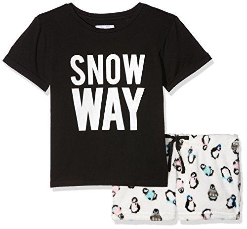 New Look Mädchen 915 Snow Way Penguin Snuggle S Zweiteiliger Schlafanzug, Rot (Black 1), Medium (Penguin-schlafanzug Für Mädchen -)