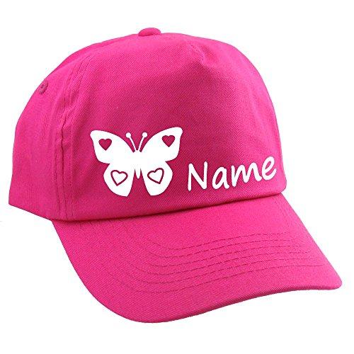 Junior Kinder CAP Schmetterling mit Namen oder Text personalisiert pink