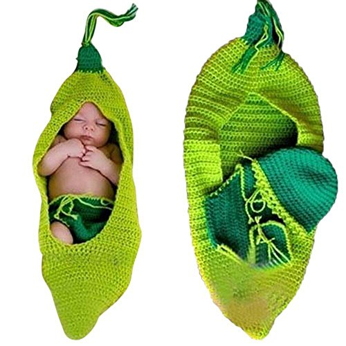 DAYAN 2016 Neueste Baby-Häkelarbeitknit Bean Pea Beanie Fotografie Kostüm Props Tasche Outfit Schlafen
