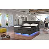 JUSTyou Amadeo LED Boxspringbett Continentalbett Doppelbett Strukturstoff (BxLxT): 165x205x126 cm Grau I