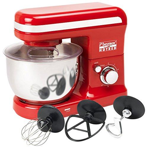 Bestron AKM500HR Küchenmaschine rot 450 Watt, 6 Geschwindigkeiten + Pulsfunktion, Edelstahl-Rührschüssel