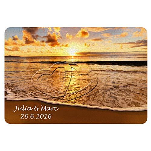 Fußmatte - Sonnenuntergang: persönliche Fussmatte mit Herz Motiv für Paare - personalisiert mit Namen und Datum - individuelle Hochzeitsgeschenke │ Hochzeitstaggeschenke │ Jahrestaggeschenke