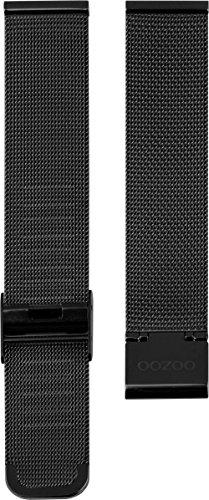 Oozoo Milanaiseband Uhrenband Armband Metallband Edelstahl Schwarz 22 mm - OA-504-22