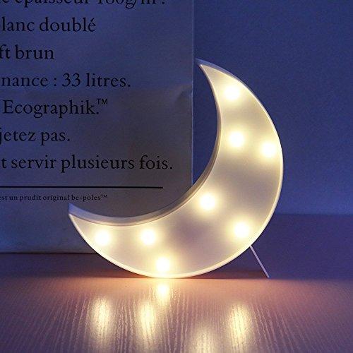 Süße LED Nachtlichter Stimmungslicht Schreibtischlampen Babyzimmer Kinderzimmer Dekorationen Geschenke (Mond, Weiß)