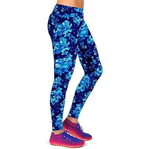Sport pantalones de yoga, Internet De cintura alta aptitud Impreso Stretch Leggings recortada (Azul, S)