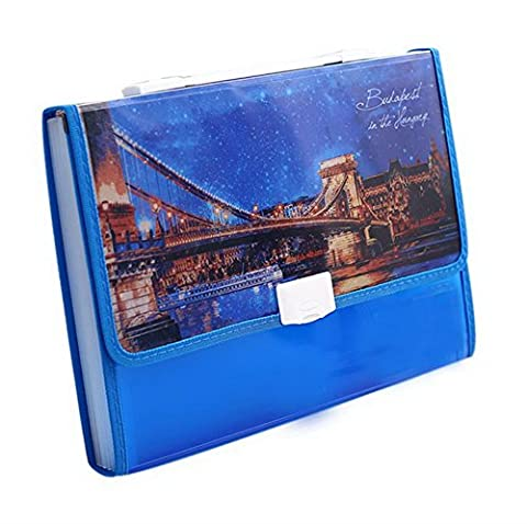 12-Pocket-Datei Orgel-Paket A4 Schüler Tragbar Aktenordner European Style Blau