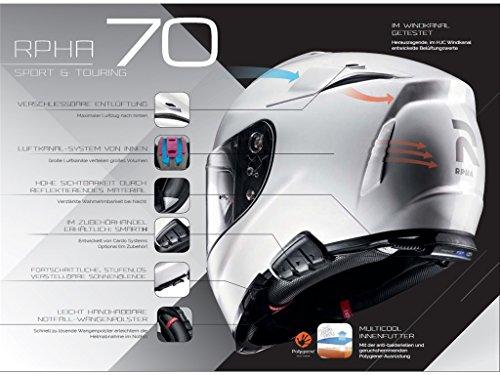 Casco Hjc Rpha 70vias MC de 1SF Casco Integral–Casco de motorista con parasol y antivaho Disco (XXL (62/63))