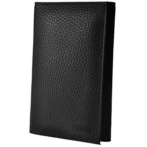 Charmoni - Porte-papiers De Voiture 3 Volets En Cuir De Vachette Neuf Hugo - noir