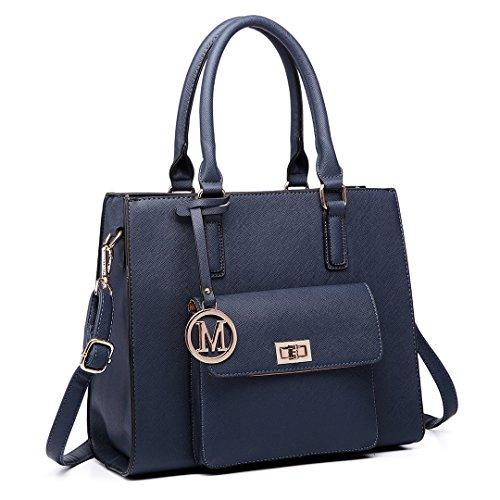 Miss LuLu Handtasche Damen Aktentasche Bürotasche Schultertasche Umhängetasche Tote Bag PU-Leder Elegant (LT6635-Dunkelblau) (Aktentasche Große Tote)