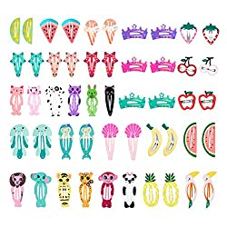 Hbf 50 Pcs Snap Hair Clips, Lovely Metal Bb Baby Hair Clips For Kids Toddlers Girls Hair Accessories