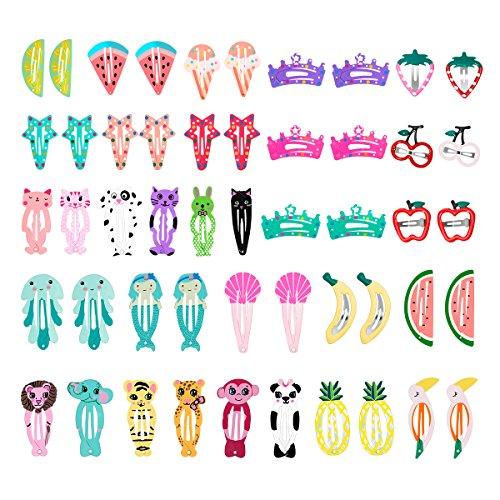 HBF 50 Stk Haarspangen , Inspirationstammt von Obst und Tiere, süßer Cartoon Design, Candy Color