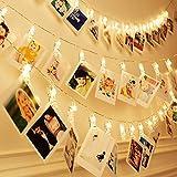 Foto Bilder Lichterkette, Dreamiracle LED Fotoklammer mit Bildern Fotos Aufhängen innen Schlafzimmer Wohnzimmer Deko Batteriebetrieben (warmes Weiß, 40 Clips)